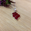 Sterling Silver Shell Pendant with Red Coral