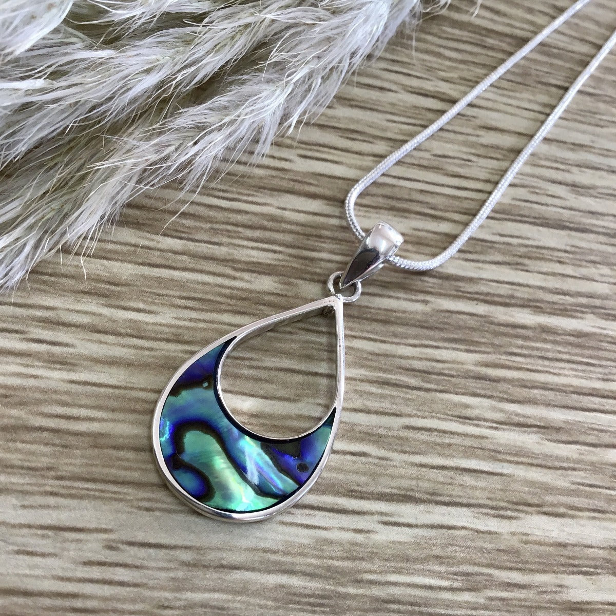 jade kiwi kaikoura sterling silver necklace pendant paua shell inset rounded drop