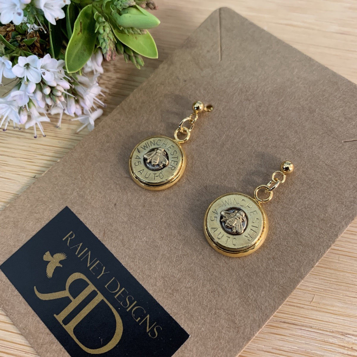 Bullet Slice Bee Earrings