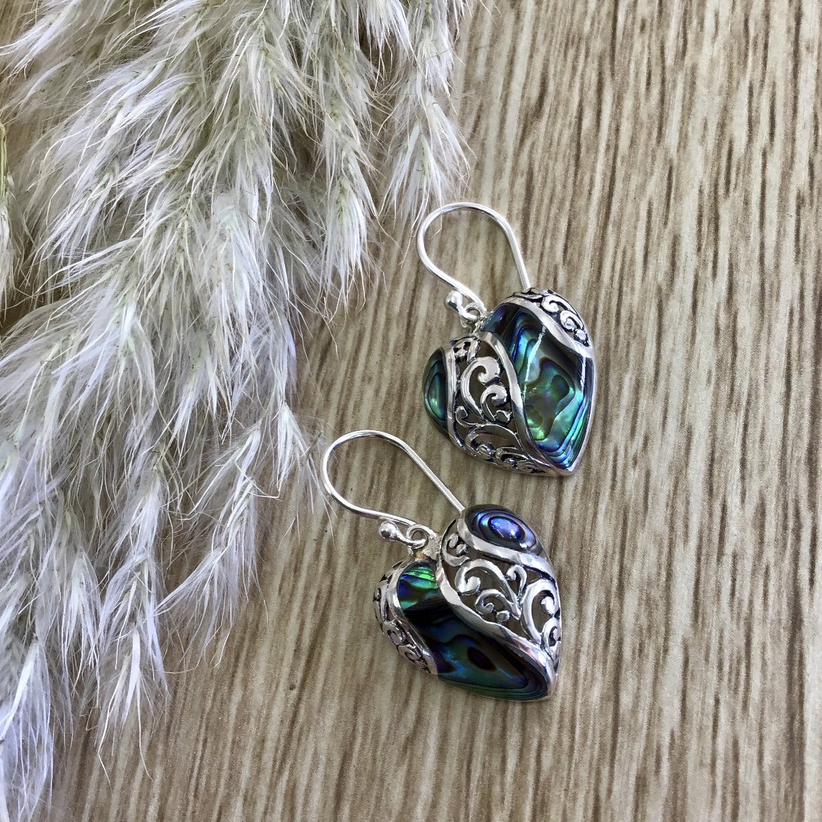 jade kiwi kaikoura sterling silver heart earrings with paua shell and filigree
