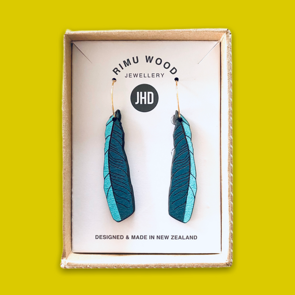 jade kiwi kaikoura JHD rimu wood earrings sterling silver tui feather