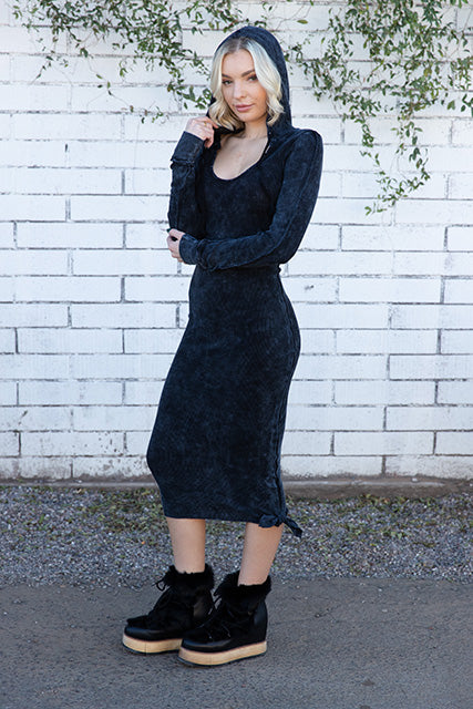 Thermal Hooded Long Sleeve Knotted Dress