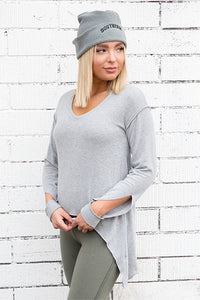 Brushed Hacci Slit Sleeve V-Neck Drop Tail Sweatshirt