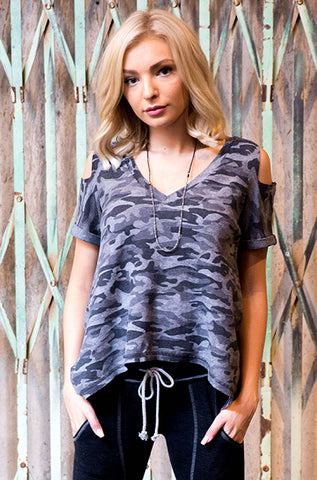 Recycled Thermal V Neck Cut Shoulder Roll Sleeve Tee
