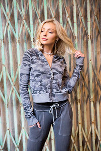 Recycled Camo French Terry Varsity Camo Baseball Jacket