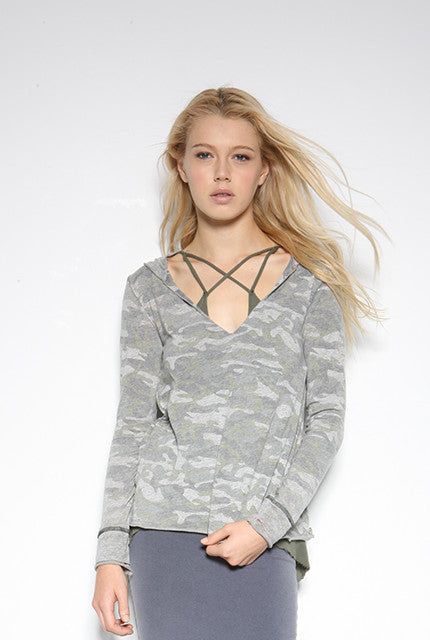 Camo Recycled Jersey V-Neck Hoodie