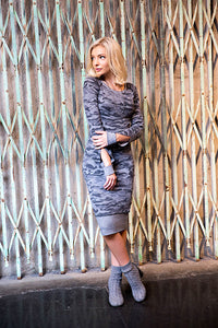 Recycled Camo Thermal Cut Sleeve Camo Dress