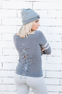 French Terry Lace Back Varsity Sweatshirt