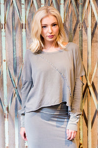 Cotton Mesh Cut Shoulder Sweatshirt