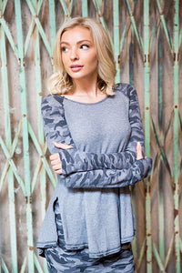 Recycled Thermal Deep V Back Raglan Tunic