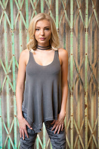 Surplus Thermal Asymmetrical V Neck Tank W/ Collar