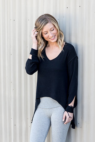 Brushed Hacci Slit Sleeve V-Neck Tunic