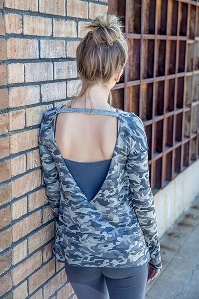 Recycled Camo French Terry  V Neck Back Strap Boxy Sweatshirt