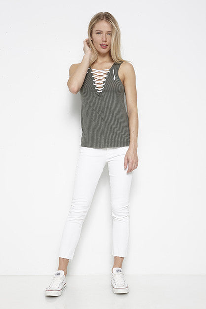 Tencel Chunky Rib Lace-Up Tank