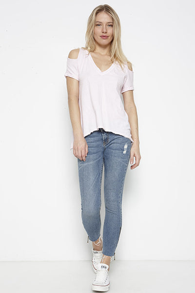 Tissue Jersey Cut Shoulder Roll Sleeve Boxy Tee