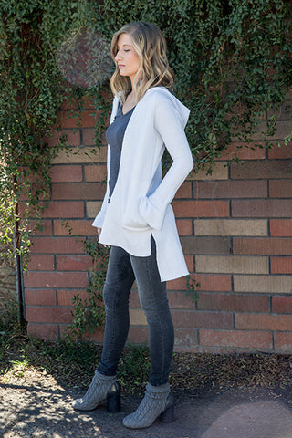 Athletic Triblend Fleece Flare Sleeve Long Hooded Jacket
