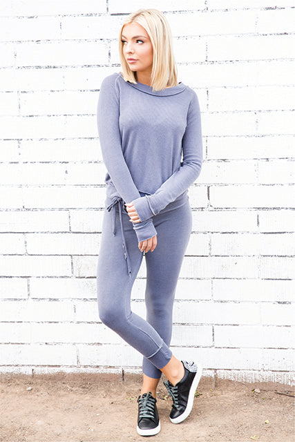 Tencel Thermal Wrap Back Sweatshirt