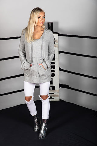 Thermal Oversized V-Neck Sweatshirt