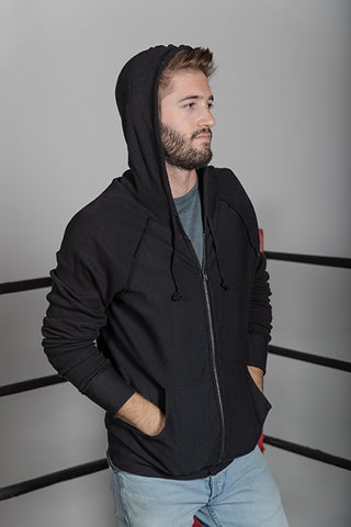 Fleece Zip Sweatshirt  with Thermal Sleeves & Hood