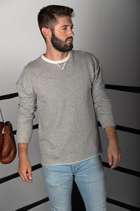 Combed Cotton French Terry V Insert Sweatshirt