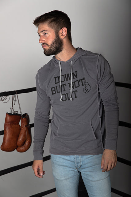 French Terry DOWN BUT NOT OUT Boxing Hoodie