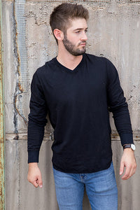 Cotton Slub V Neck