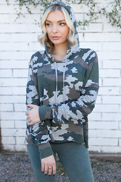 Camo French Terry Shirred Sleeve Boxy Hoodie