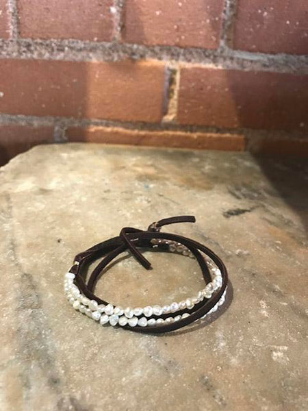 Freshwater Pearl & Leather Bracelet/Necklace