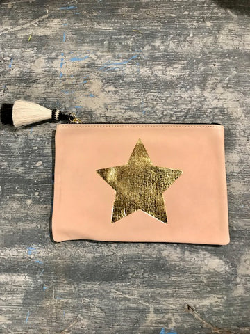Kempton & Co. Blush and Gold Small Leather Pouch