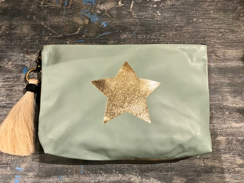 Kempton & Co. Aqua & Gold Star Oversized Leather Clutch