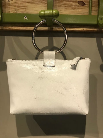 White Leather Ring Purse