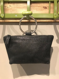 Black Leather Ring Purse