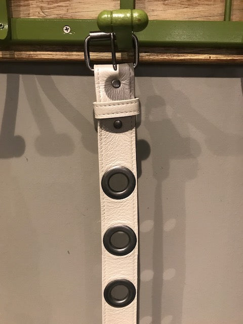 White Grommet Belt by Kim White