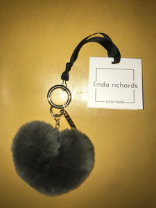 Linda Richards Heart Shape Key Chain Black, Grey