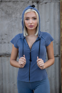 Tencel Thermal Lace Up Muscle Zip Hoodie