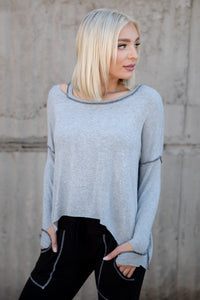 Brushed Hacci Cut Shoulder Boxy Sweatshirt