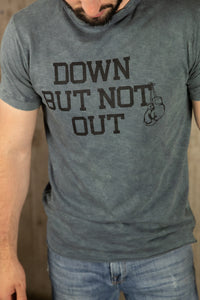 Cotton Slub DOWN BUT NOT OUT Short Sleeve Tee