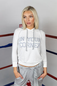 IN YOUR CORNER TENCEL FRENCH TERRY LACE BACK SWEATSHIRT