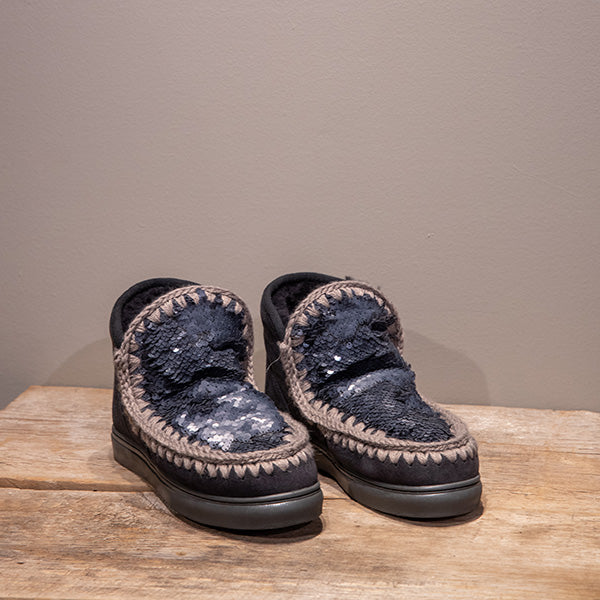 Charcoal sequin Mou Boots