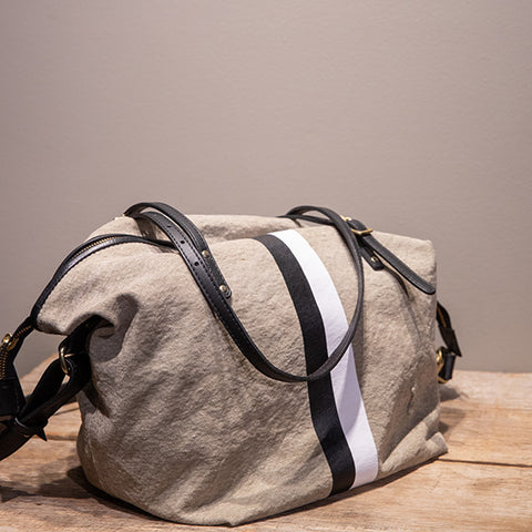 Postal Crossbody Black and White Stripe