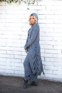Tencel Thermal Shirred Hooded Duster