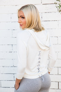 Tencel French Terry  Lace Back Hoodie