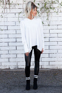 Tencel Fleece Oversized Hoodie with Lace Up Detail