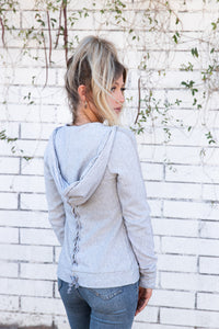 Tencel Fleece Lace Up Zip Hoodie