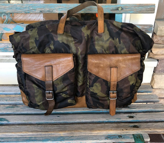 Campomaggi Men's Camo Leather and Nylon Duffel Bag