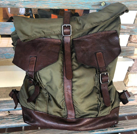 Campomaggi Men's Army Nylon and Leather Backpack