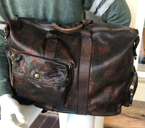 Campomaggi Men's Leather Camo Weekender Bag