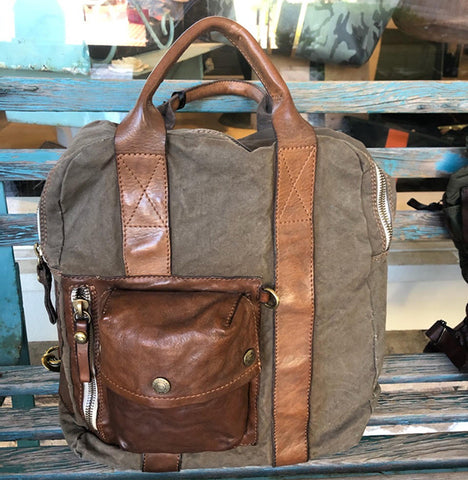 Campomaggi Men's Army Canvas and Leather Backpack
