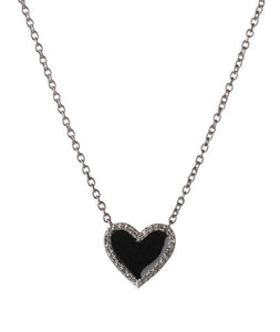 Diamond Mini Black Enamel Heart Necklace