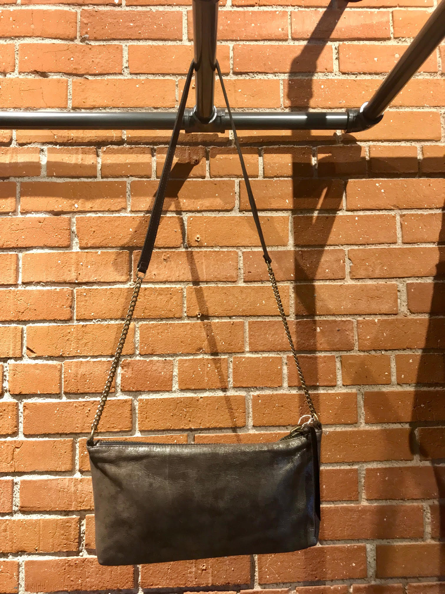 Dull Brown Metallic Leather & Chain Bag